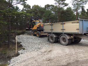 Infartsväg till Kvarnåkershamns bräckvattenverk byggs.